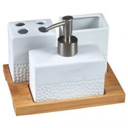 סט קרמי אמבטיה עם בסיס עץ