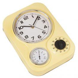 """שעון קיר מתכת """"רטרו"""" כולל טיימר וטרמומטר"""
