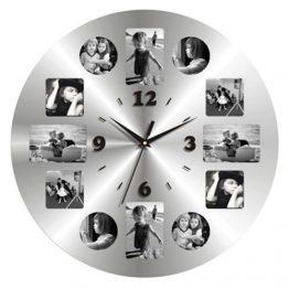 שעון קיר מתכת עגול תמונות בגימור מראה