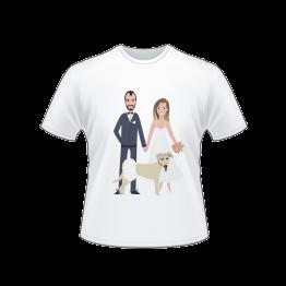 חולצה לאורחים בחתונה עם הדפס של חתן וכלה עם כלב גדול