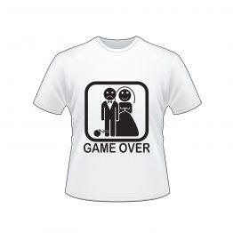 חולצה לחתונה עם הדפס Game Over, חתן עצוב וכלה שמחה